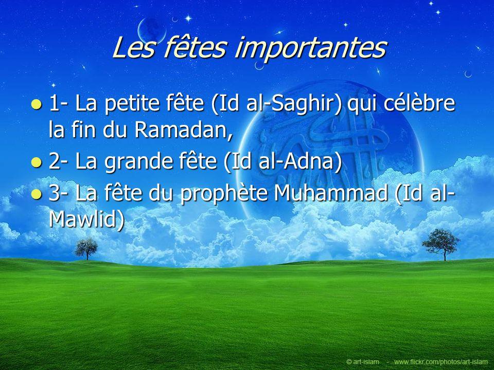 Les fêtes importantes 1- La petite fête (Id al-Saghir) qui célèbre la fin du Ramadan, 1- La petite fête (Id al-Saghir) qui célèbre la fin du Ramadan,