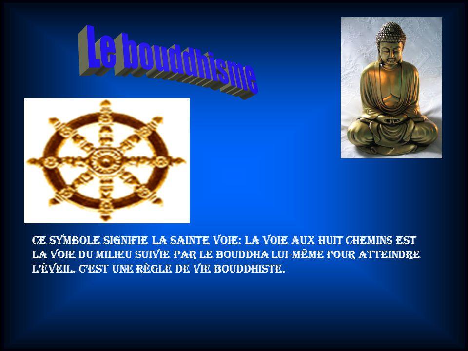 Ce symbole signifie la Sainte Voie: La Voie aux huit chemins est la Voie du milieu suivie par le bouddha lui-même pour atteindre léveil.