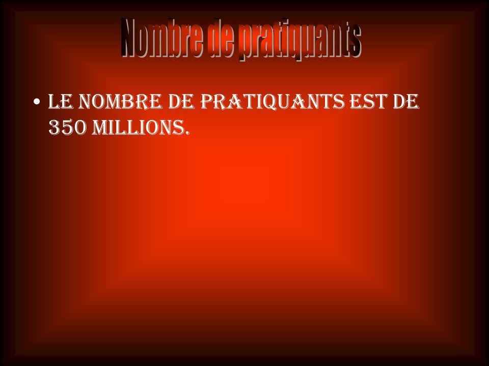 Le nombre de pratiquants est de 350 millions.