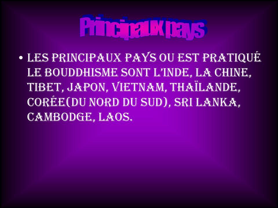 Les principaux pays ou est pratiqué le bouddhisme sont lInde, la Chine, Tibet, Japon, Vietnam, Thaïlande, Corée(du nord du sud), Sri Lanka, Cambodge, Laos.
