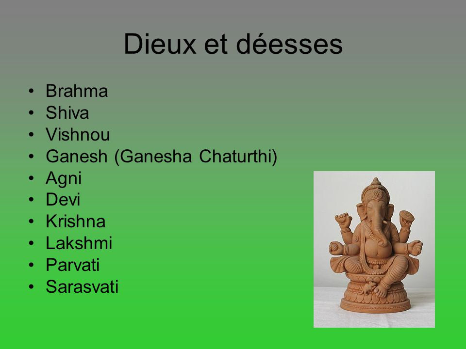 Dieux et déesses Brahma Shiva Vishnou Ganesh (Ganesha Chaturthi) Agni Devi Krishna Lakshmi Parvati Sarasvati