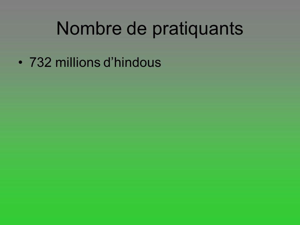 Nombre de pratiquants 732 millions dhindous