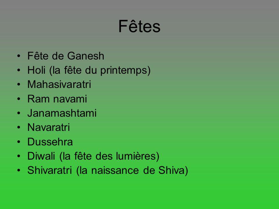 Fêtes Fête de Ganesh Holi (la fête du printemps) Mahasivaratri Ram navami Janamashtami Navaratri Dussehra Diwali (la fête des lumières) Shivaratri (la