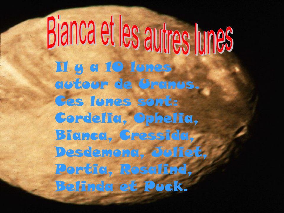 Il y a 10 lunes autour de Uranus. Ces lunes sont: Cordelia, Ophelia, Bianca, Cressida, Desdemona, Juliet, Portia, Rosalind, Belinda et Puck.