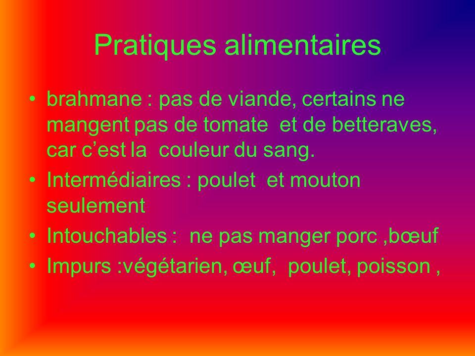 Pratiques alimentaires brahmane : pas de viande, certains ne mangent pas de tomate et de betteraves, car cest la couleur du sang. Intermédiaires : pou