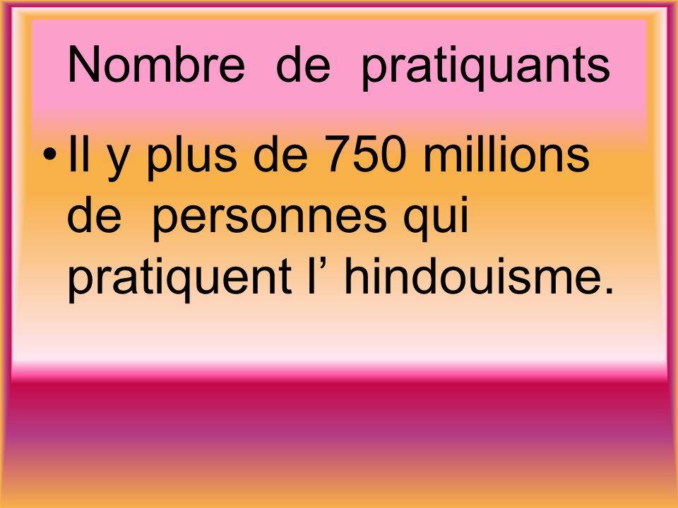 Nombre de pratiquants Il y plus de 750 millions de personnes qui pratiquent l hindouisme.