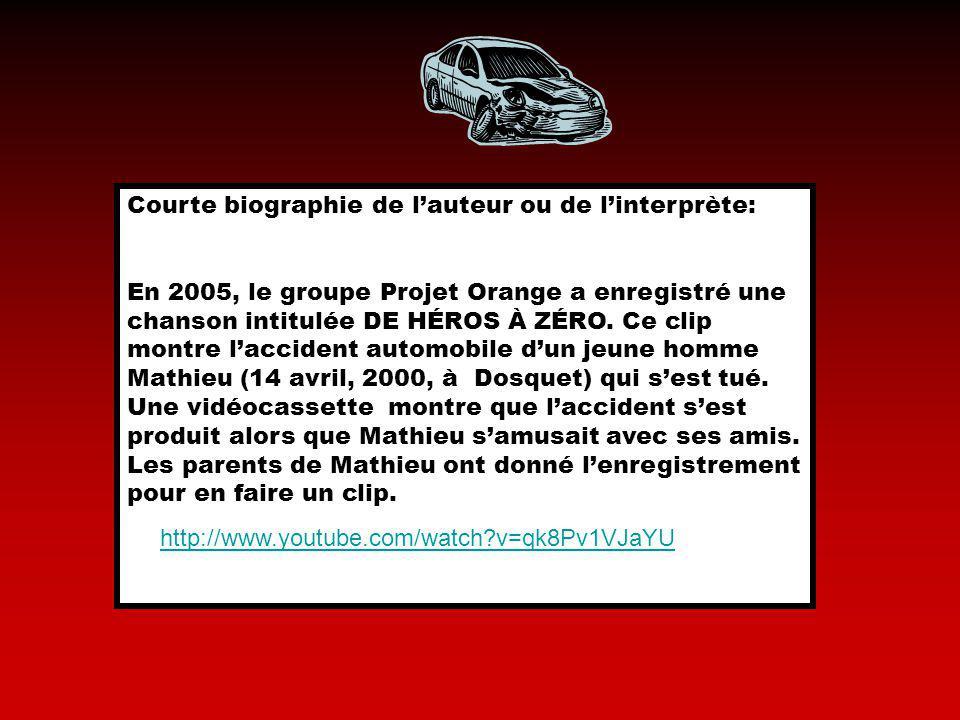 Courte biographie de lauteur ou de linterprète: En 2005, le groupe Projet Orange a enregistré une chanson intitulée DE HÉROS À ZÉRO. Ce clip montre la
