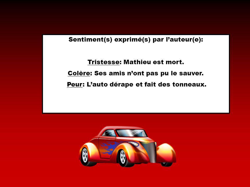Sentiment(s) exprimé(s) par lauteur(e): Tristesse: Mathieu est mort. Colère: Ses amis nont pas pu le sauver. Peur: Lauto dérape et fait des tonneaux.