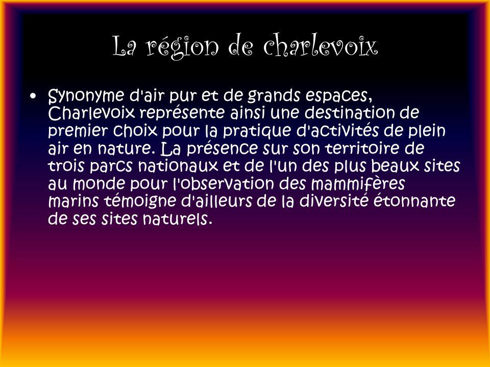 La région de charlevoix Synonyme d'air pur et de grands espaces, Charlevoix représente ainsi une destination de premier choix pour la pratique d'activ