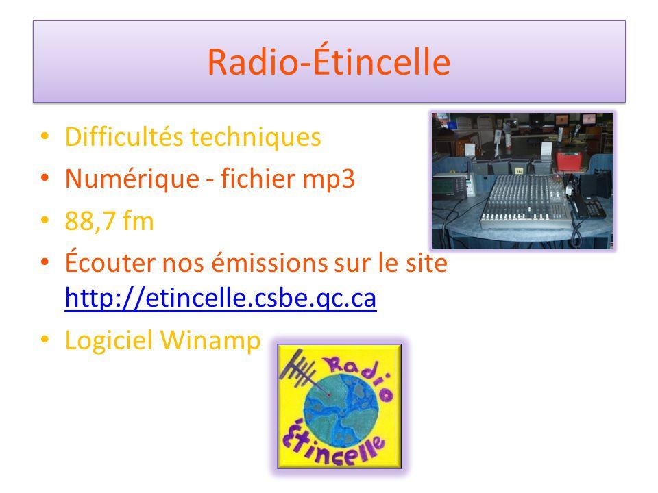 Radio-Étincelle Difficultés techniques Numérique - fichier mp3 88,7 fm Écouter nos émissions sur le site http://etincelle.csbe.qc.ca http://etincelle.csbe.qc.ca Logiciel Winamp