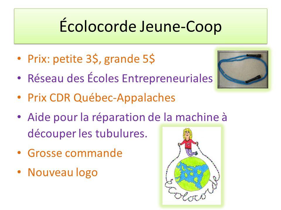 Écolocorde Jeune-Coop Prix: petite 3$, grande 5$ Réseau des Écoles Entrepreneuriales Prix CDR Québec-Appalaches Aide pour la réparation de la machine à découper les tubulures.