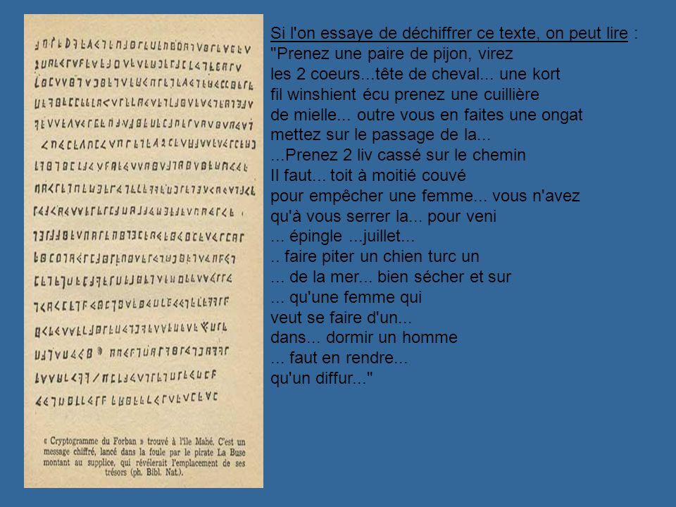 Si l on essaye de déchiffrer ce texte, on peut lire : Prenez une paire de pijon, virez les 2 coeurs...tête de cheval...