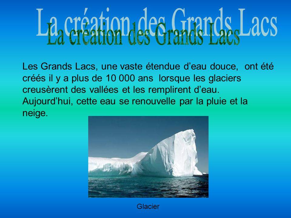 Les Grands Lacs, une vaste étendue deau douce, ont été créés il y a plus de 10 000 ans lorsque les glaciers creusèrent des vallées et les remplirent d
