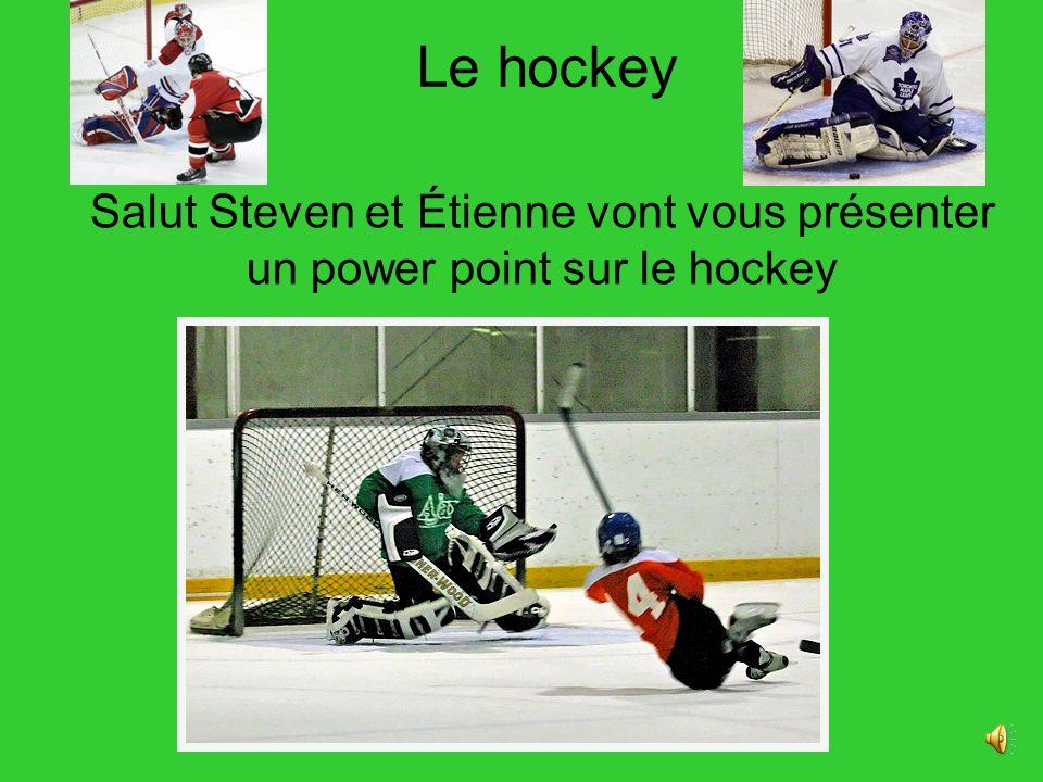 Le hockey Salut Steven et Étienne vont vous présenter un power point sur le hockey