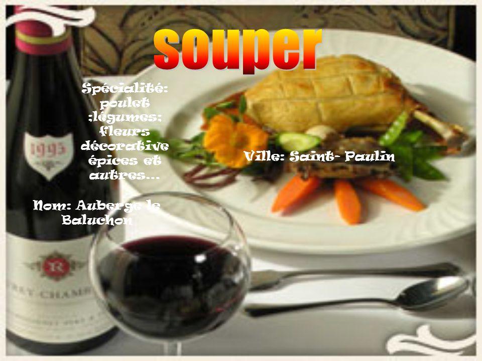 Nom: Auberge le Baluchon Ville: Saint- Paulin Spécialité: poulet ;légumes; fleurs décorative épices et autres…