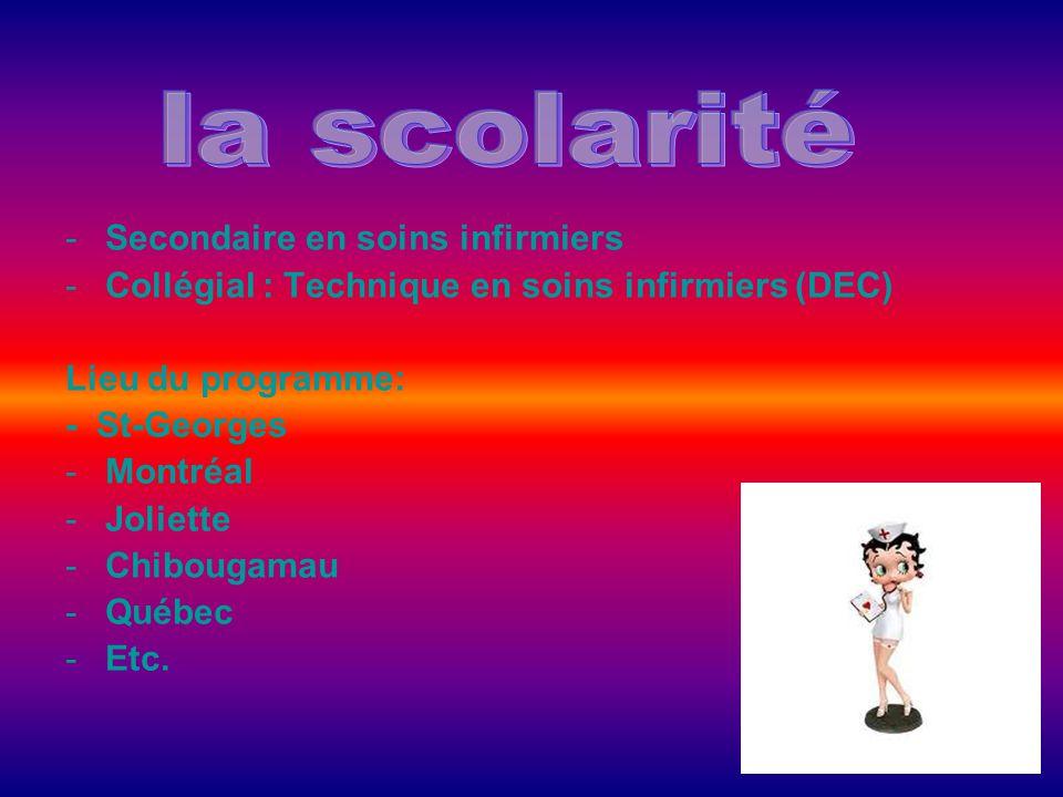 -Secondaire en soins infirmiers -Collégial : Technique en soins infirmiers (DEC) Lieu du programme: - St-Georges -Montréal -Joliette -Chibougamau -Qué