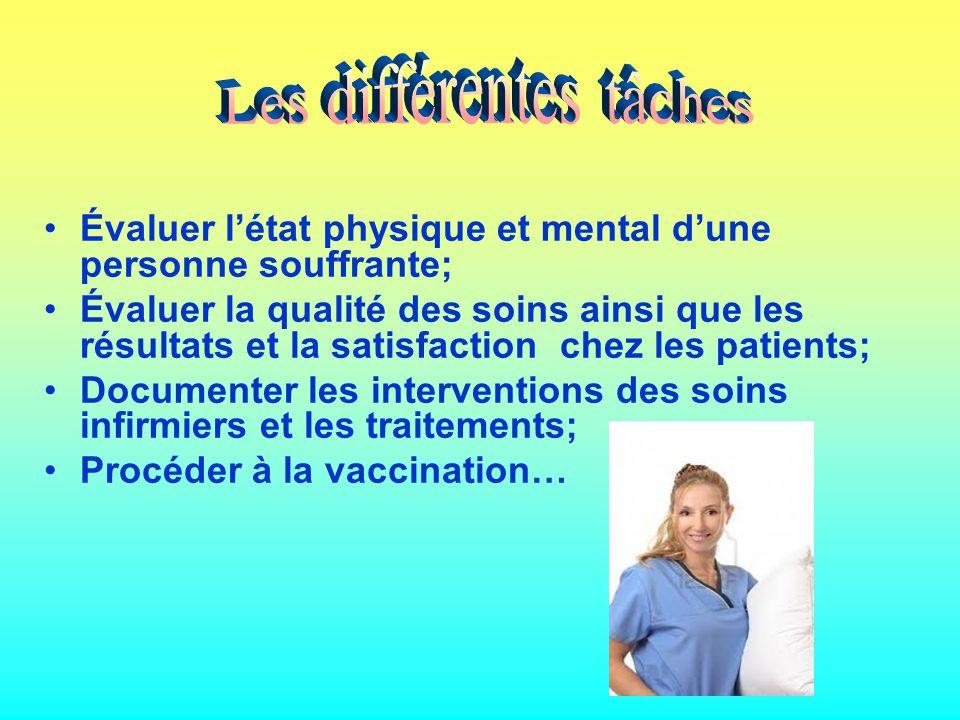 Évaluer létat physique et mental dune personne souffrante; Évaluer la qualité des soins ainsi que les résultats et la satisfaction chez les patients; Documenter les interventions des soins infirmiers et les traitements; Procéder à la vaccination…