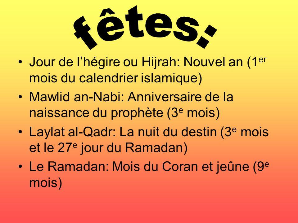 Jour de lhégire ou Hijrah: Nouvel an (1 er mois du calendrier islamique) Mawlid an-Nabi: Anniversaire de la naissance du prophète (3 e mois) Laylat al