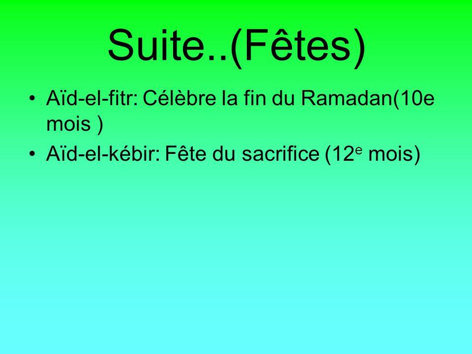 Suite..(Fêtes) Aïd-el-fitr: Célèbre la fin du Ramadan(10e mois ) Aïd-el-kébir: Fête du sacrifice (12 e mois)