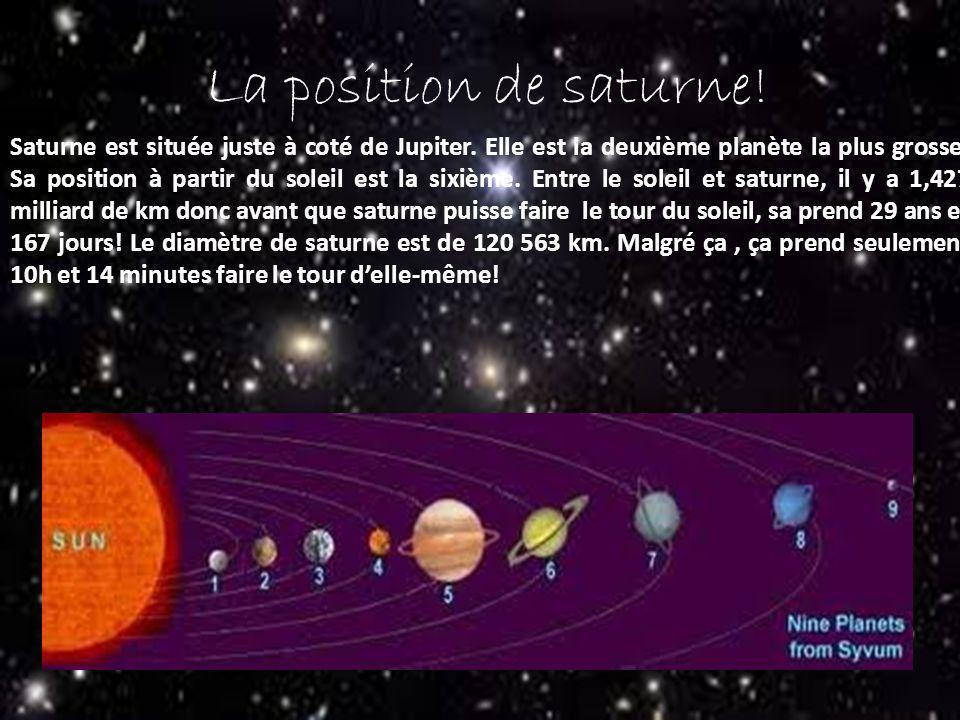 La position de saturne! Saturne est située juste à coté de Jupiter. Elle est la deuxième planète la plus grosse. Sa position à partir du soleil est la