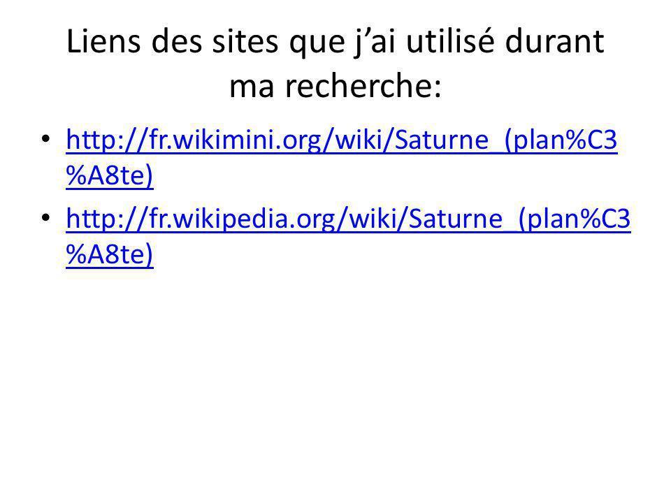 Liens des sites que jai utilisé durant ma recherche: http://fr.wikimini.org/wiki/Saturne_(plan%C3 %A8te) http://fr.wikimini.org/wiki/Saturne_(plan%C3