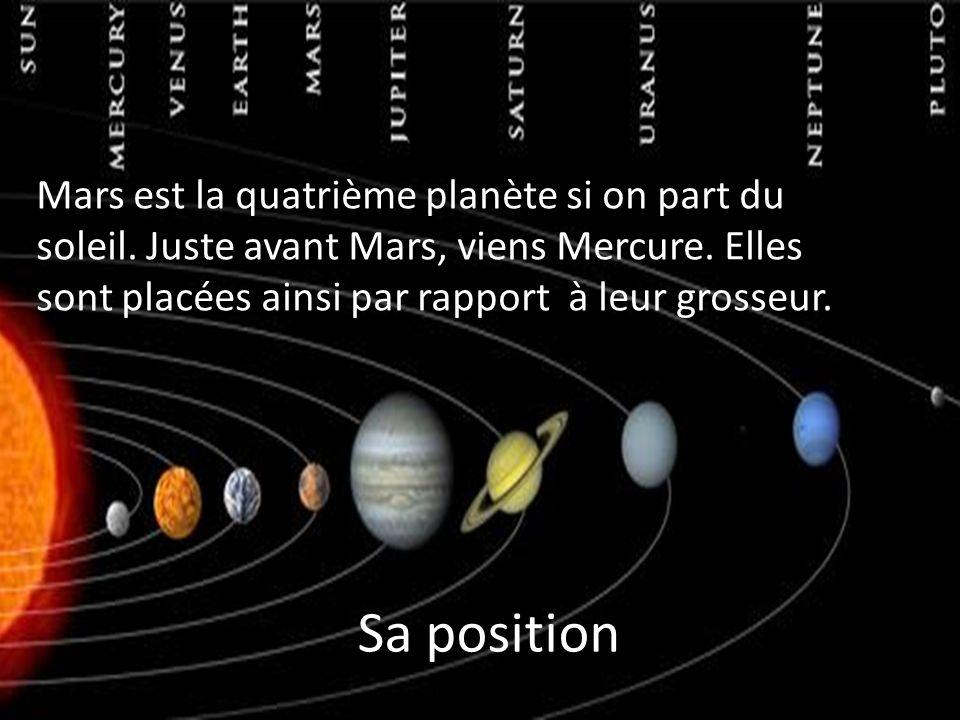 Sa position Mars est la quatrième planète si on part du soleil.