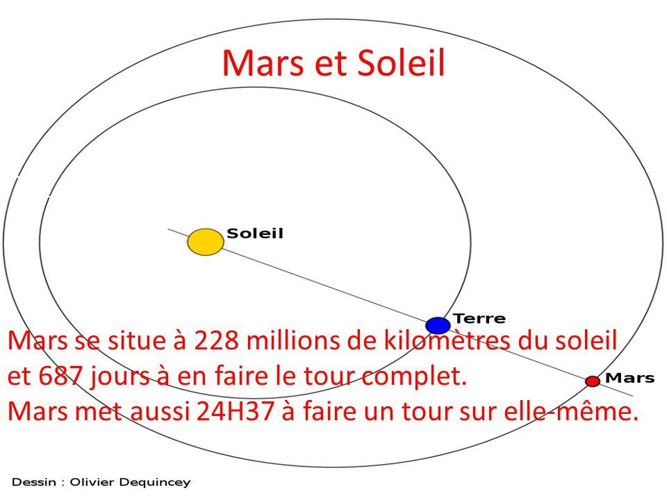 Mars et Soleil Mars se situe à 228 millions de kilomètres du soleil et 687 jours à en faire le tour complet.