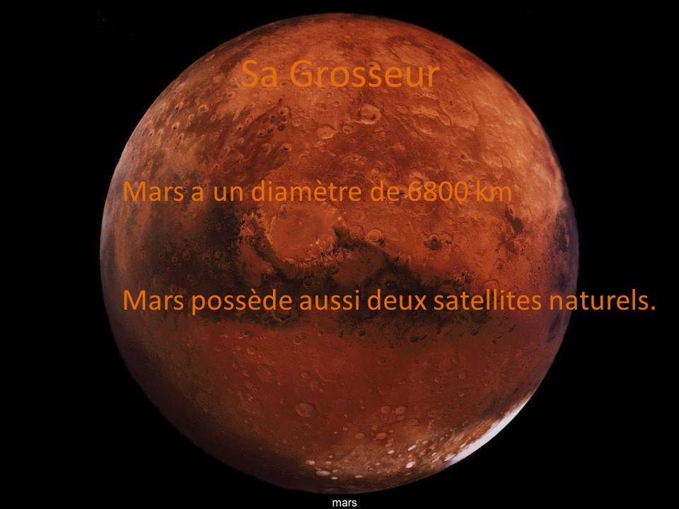Sa Grosseur Mars a un diamètre de 6800 km Mars possède aussi deux satellites naturels.