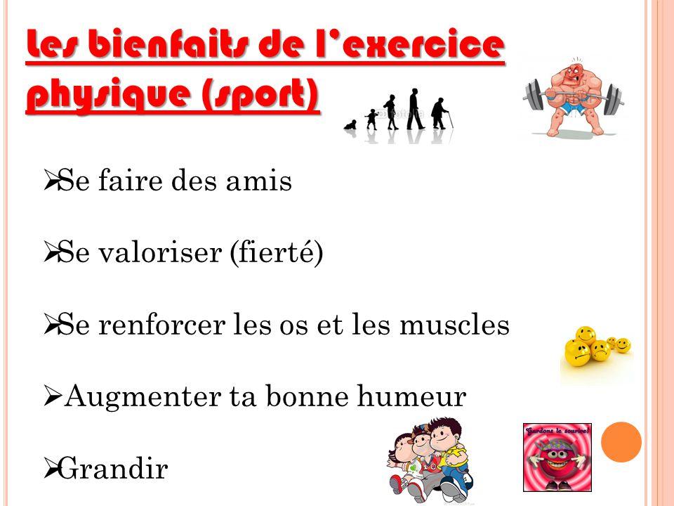 Les bienfaits de lexercice physique (sport) Se faire des amis Se valoriser (fierté) Se renforcer les os et les muscles Augmenter ta bonne humeur Grand