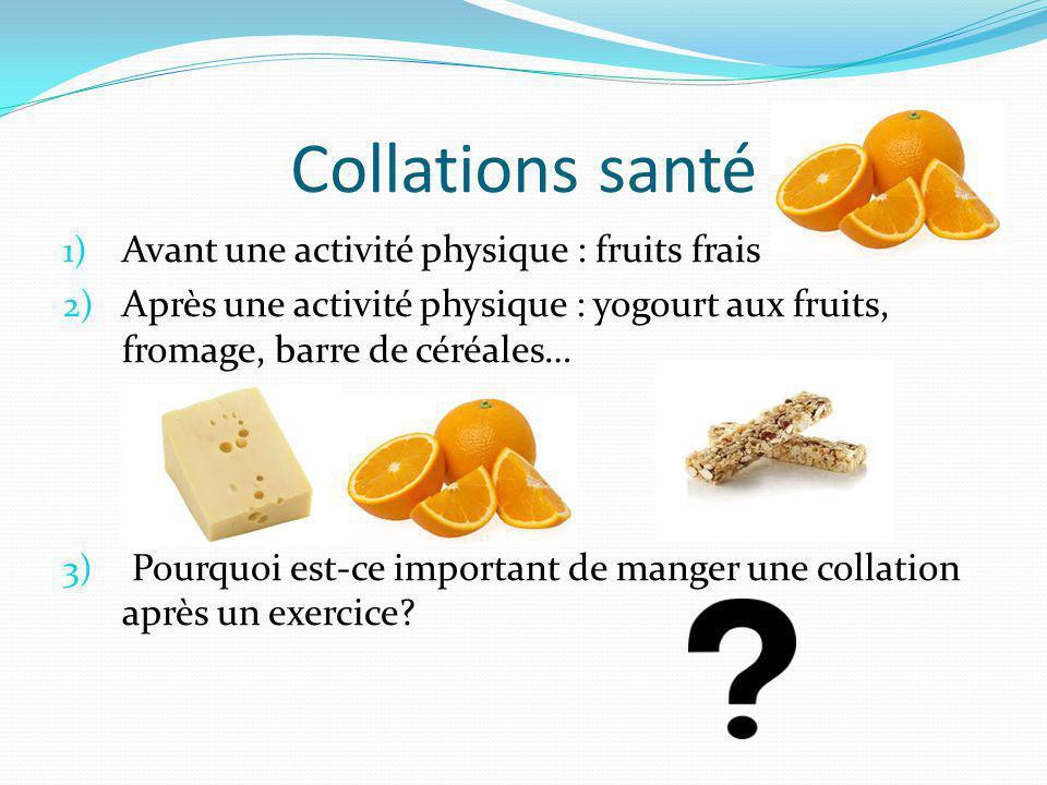 Collations santé 1) Avant une activité physique : fruits frais 2) Après une activité physique : yogourt aux fruits, fromage, barre de céréales… 3) Pourquoi est-ce important de manger une collation après un exercice?