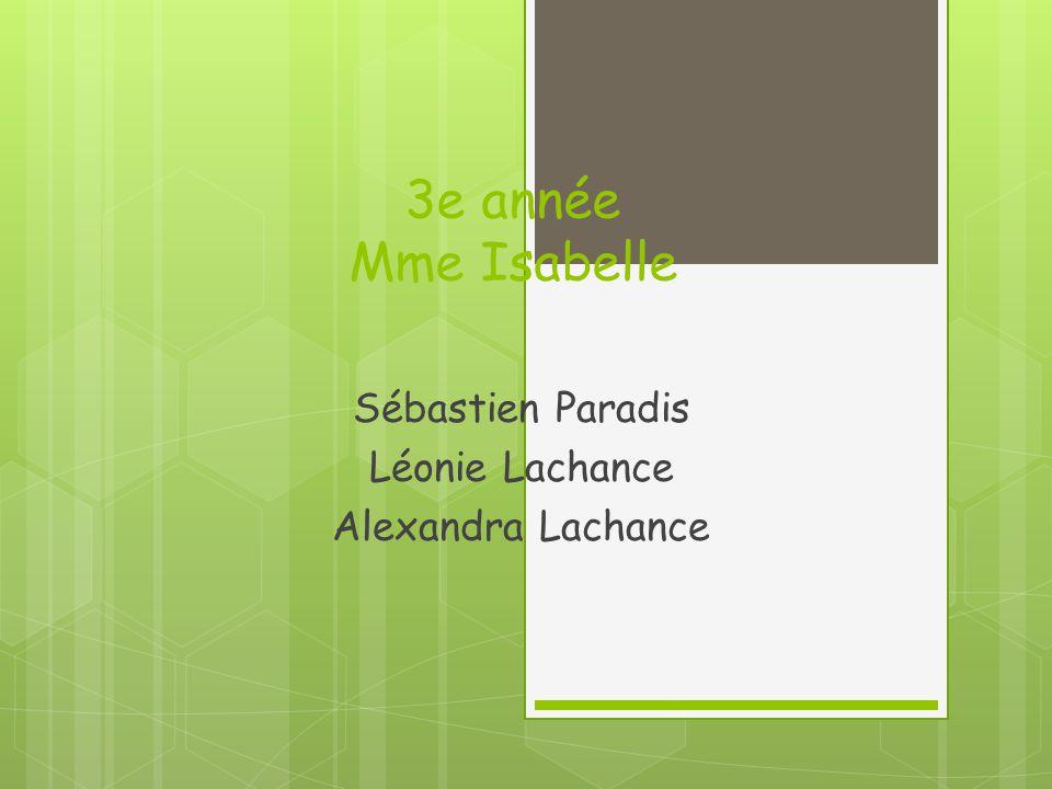 3e année Mme Isabelle Sébastien Paradis Léonie Lachance Alexandra Lachance