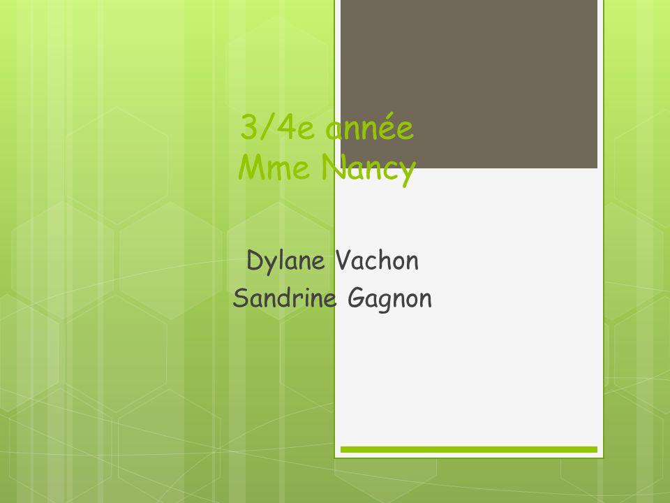 3/4e année Mme Nancy Dylane Vachon Sandrine Gagnon