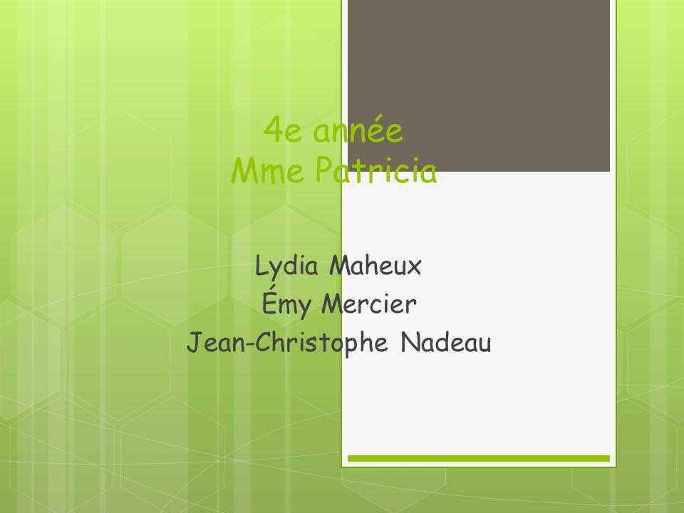 4e année Mme Patricia Lydia Maheux Émy Mercier Jean-Christophe Nadeau