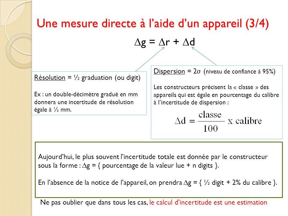 g = r + d Résolution = ½ graduation (ou digit) Ex : un double-décimètre gradué en mm donnera une incertitude de résolution égale à ½ mm. Dispersion =