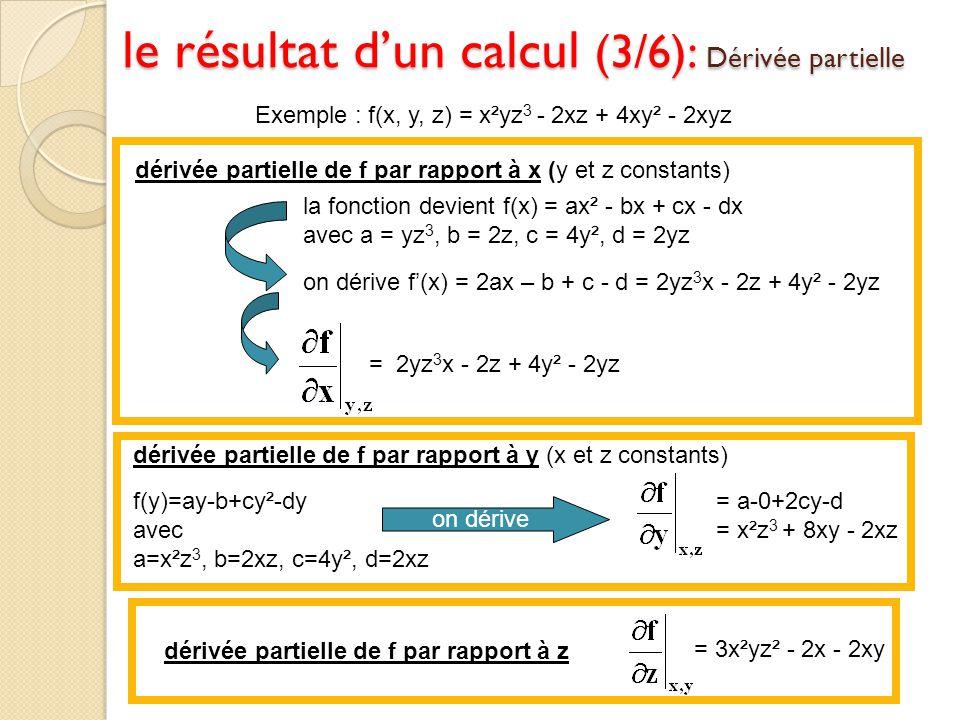 Exemple : f(x, y, z) = x²yz 3 - 2xz + 4xy² - 2xyz la fonction devient f(x) = ax² - bx + cx - dx avec a = yz 3, b = 2z, c = 4y², d = 2yz on dérive f(x)