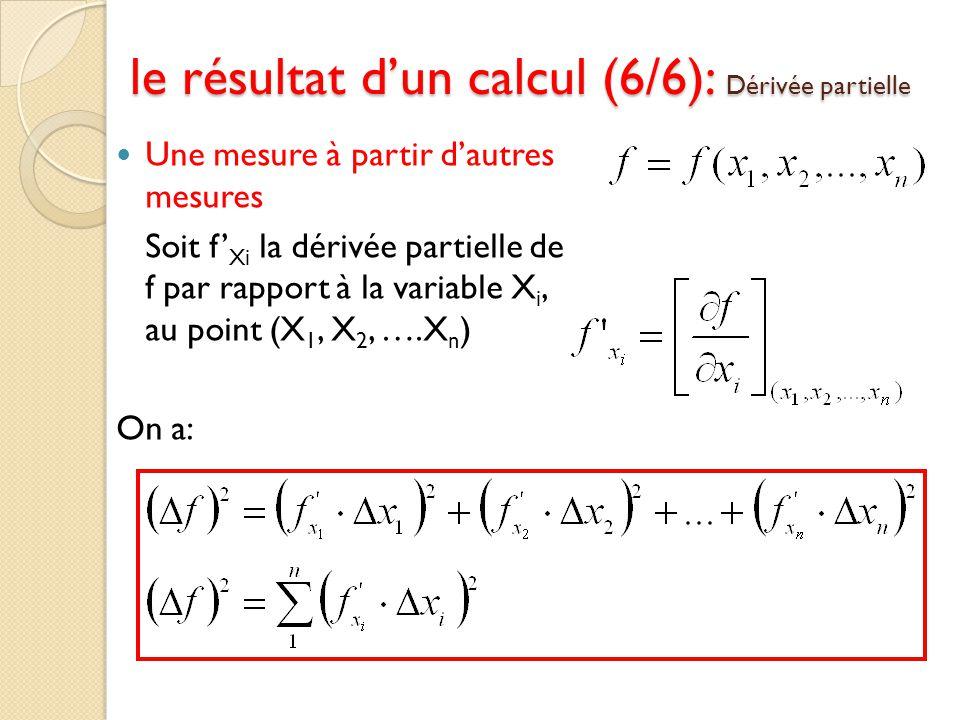 Une mesure à partir dautres mesures Soit f Xi la dérivée partielle de f par rapport à la variable X i, au point (X 1, X 2, ….X n ) On a: le résultat d