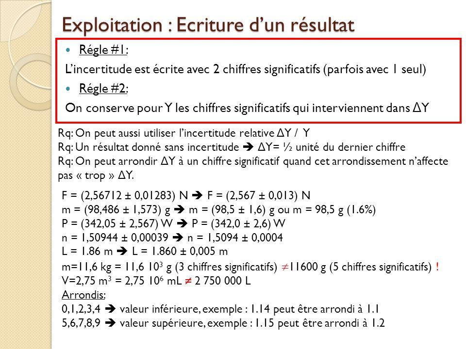 Exploitation : Ecriture dun résultat Régle #1: Lincertitude est écrite avec 2 chiffres significatifs (parfois avec 1 seul) Régle #2: On conserve pour
