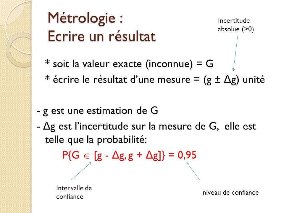 Métrologie : Ecrire un résultat * soit la valeur exacte (inconnue) = G * écrire le résultat dune mesure = (g ± Δ g) unité - g est une estimation de G