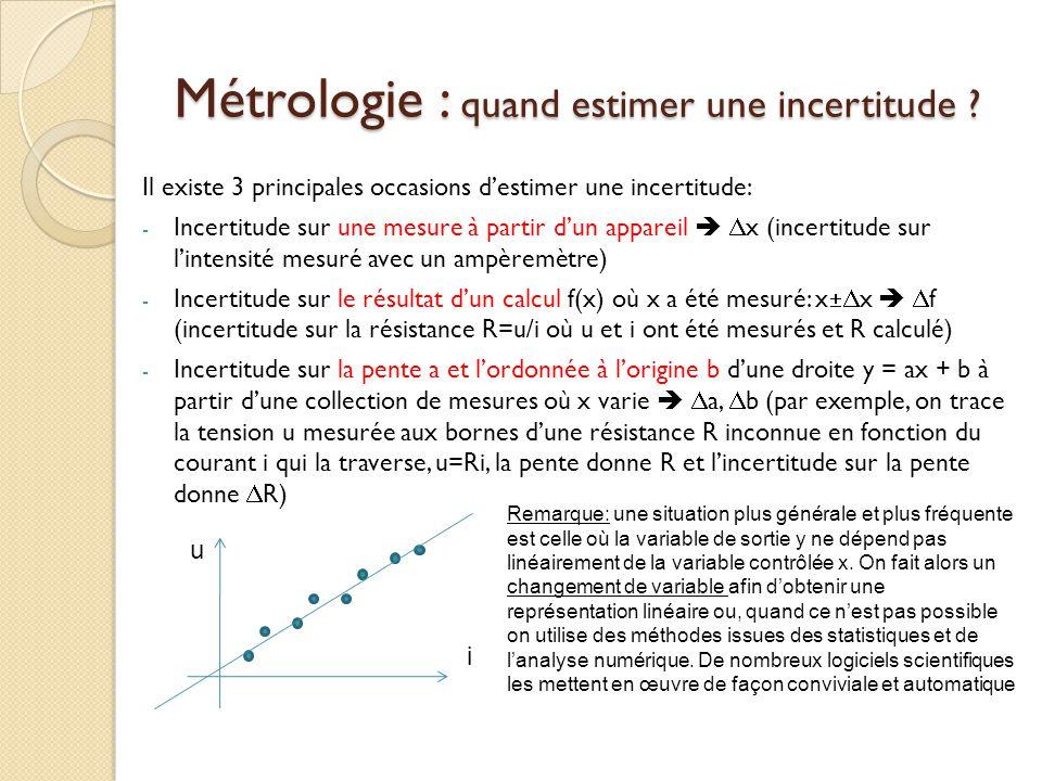 Métrologie : quand estimer une incertitude ? Il existe 3 principales occasions destimer une incertitude: - Incertitude sur une mesure à partir dun app