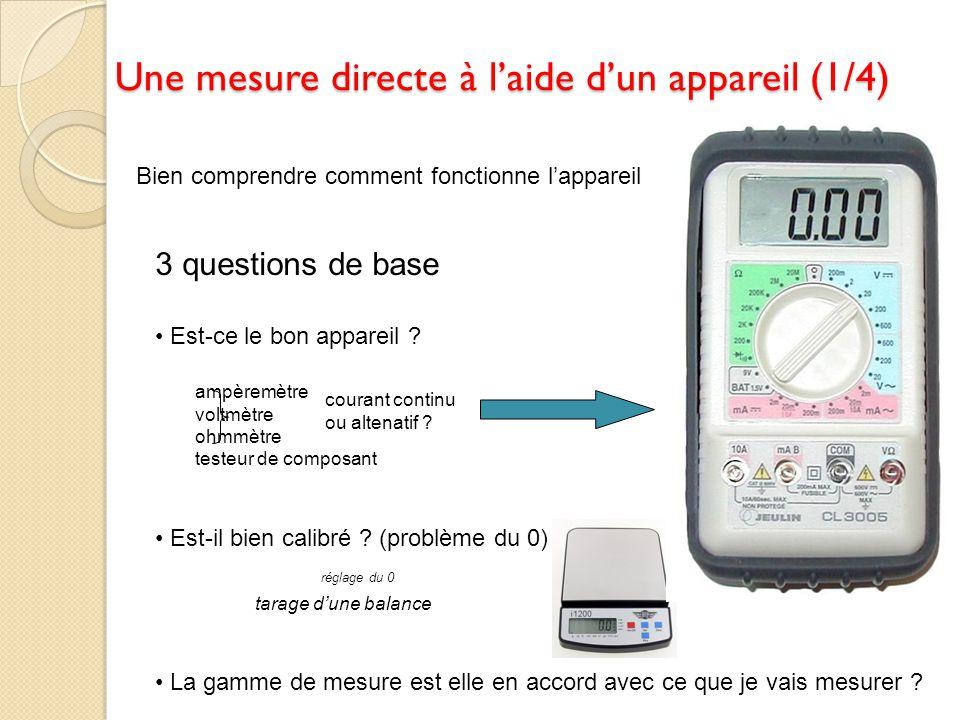 Une mesure directe à laide dun appareil (1/4) Bien comprendre comment fonctionne lappareil 3 questions de base Est-ce le bon appareil ? Est-il bien ca