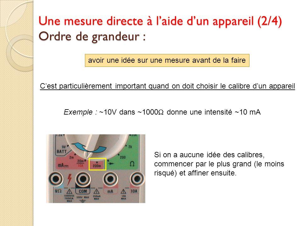 avoir une idée sur une mesure avant de la faire Cest particulièrement important quand on doit choisir le calibre dun appareil Exemple : ~10V dans ~100