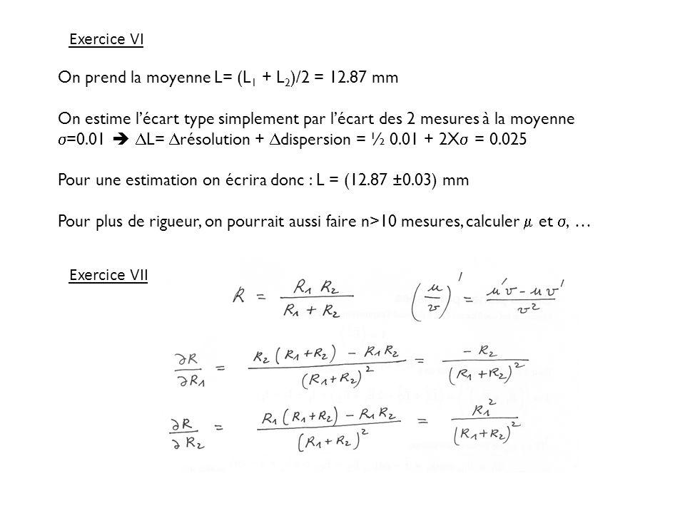 On prend la moyenne L= (L 1 + L 2 )/2 = 12.87 mm On estime lécart type simplement par lécart des 2 mesures à la moyenne =0.01 L= résolution + dispersi