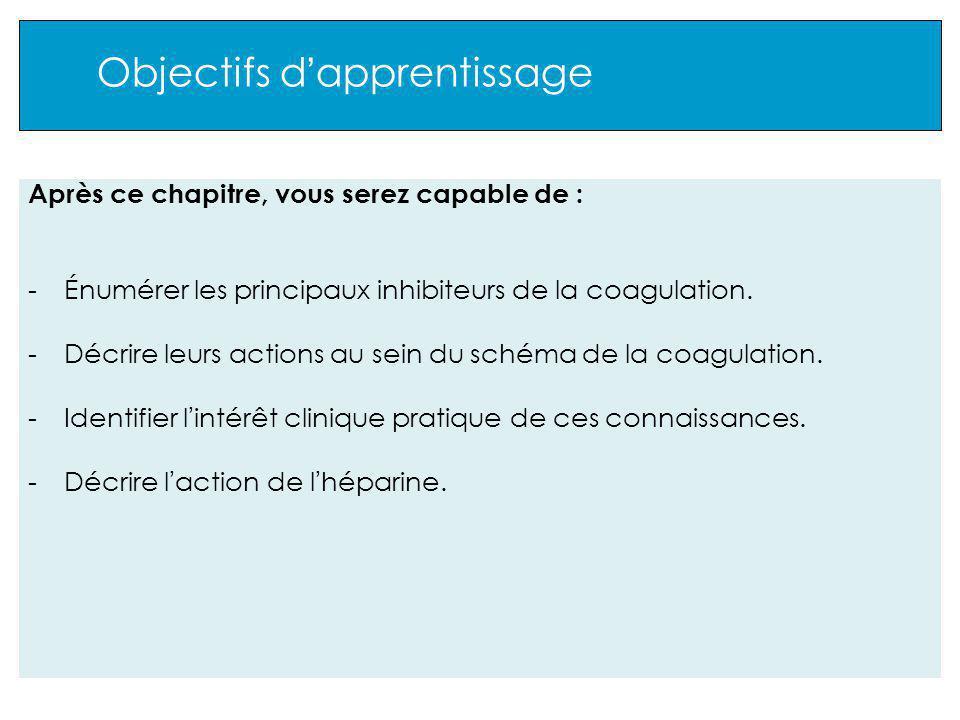 Objectifs d apprentissage Après ce chapitre, vous serez capable de : -Énumérer les principaux inhibiteurs de la coagulation.