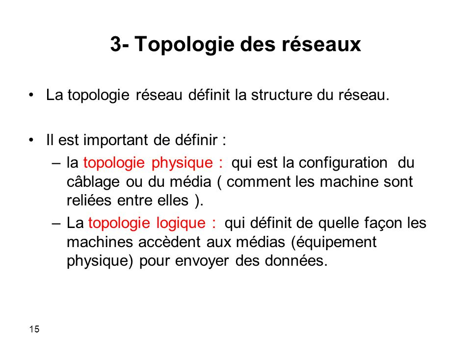 3- Topologie des réseaux La topologie réseau définit la structure du réseau.