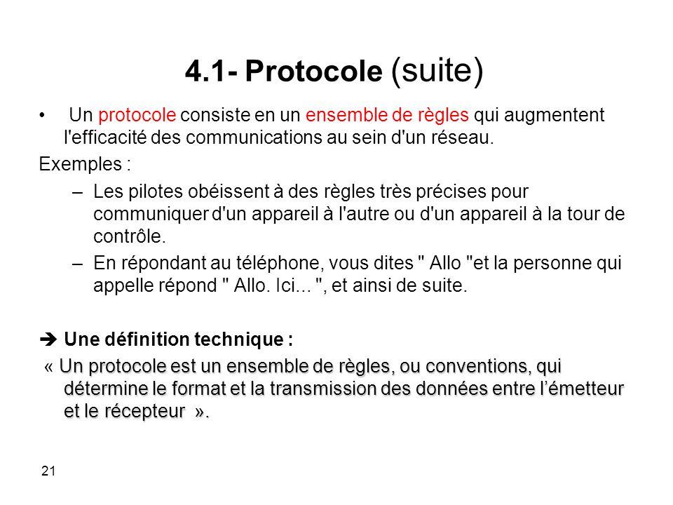 Un protocole consiste en un ensemble de règles qui augmentent l efficacité des communications au sein d un réseau.