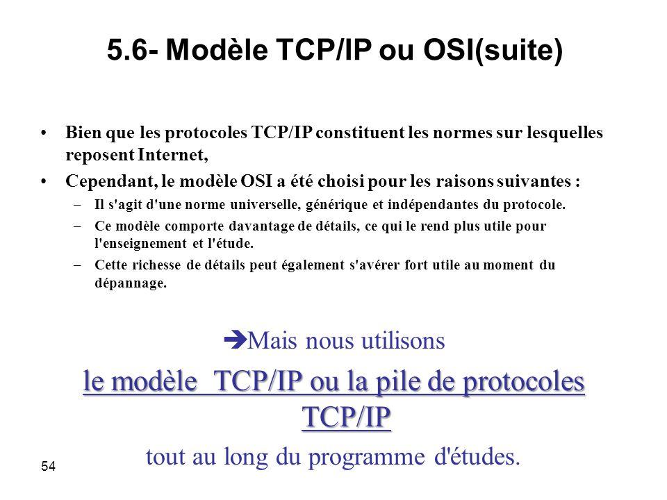Bien que les protocoles TCP/IP constituent les normes sur lesquelles reposent Internet, Cependant, le modèle OSI a été choisi pour les raisons suivantes : –Il s agit d une norme universelle, générique et indépendantes du protocole.