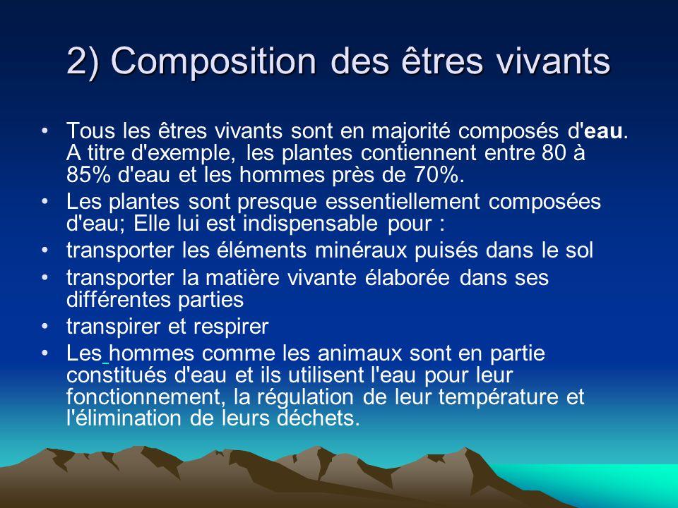 2) Composition des êtres vivants Tous les êtres vivants sont en majorité composés d'eau. A titre d'exemple, les plantes contiennent entre 80 à 85% d'e
