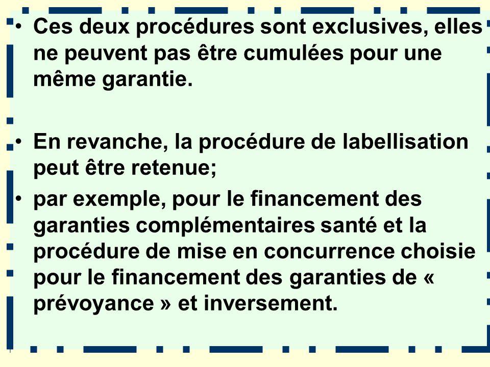 Ces deux procédures sont exclusives, elles ne peuvent pas être cumulées pour une même garantie. En revanche, la procédure de labellisation peut être r