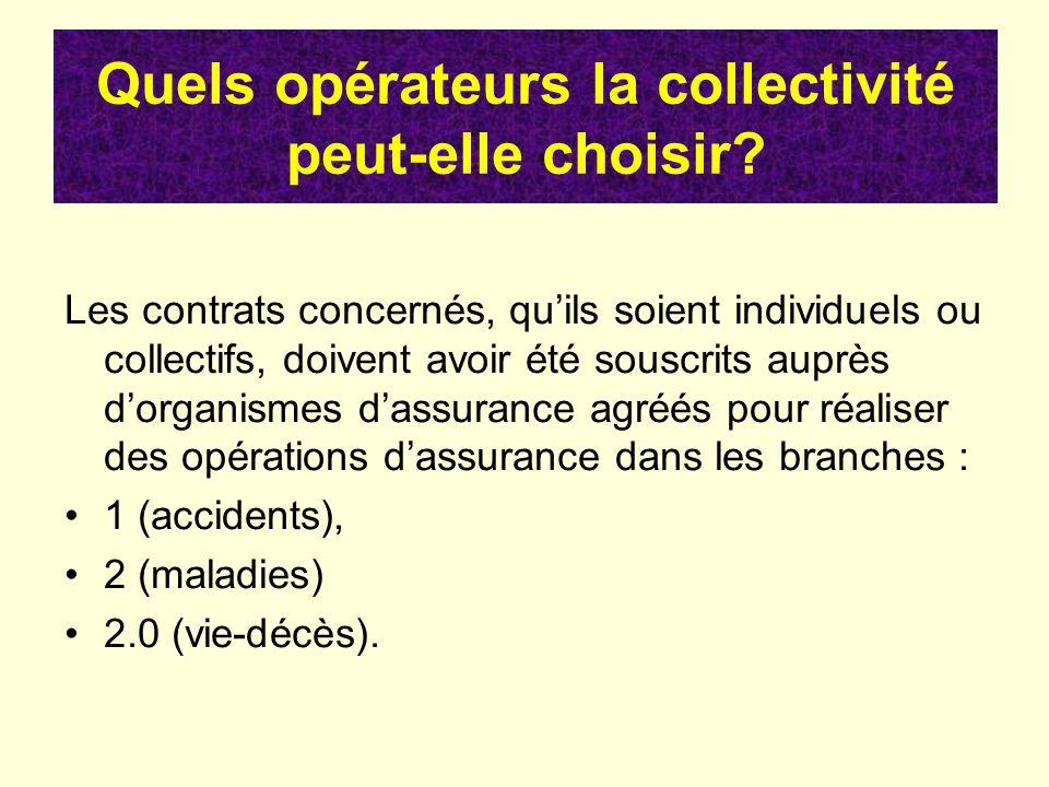 Quels opérateurs la collectivité peut-elle choisir? Les contrats concernés, quils soient individuels ou collectifs, doivent avoir été souscrits auprès