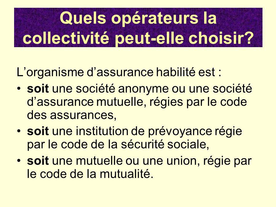 Lorganisme dassurance habilité est : soit une société anonyme ou une société dassurance mutuelle, régies par le code des assurances, soit une institut